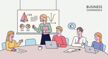 Team members are sitting together at a table and having an idea meeting. One person is standing up and giving a presentation. flat design style minimal vector illustration.