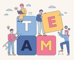 Team members are stacking large boxes together. flat design style minimal vector illustration.
