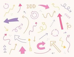 arious arrows in cute pink color. Simple pattern design template. vector