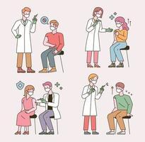 People who get the coronavirus vaccine shot. flat design style minimal vector illustration.