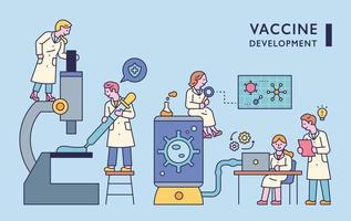 Doctors doing research with huge equipment in the lab. flat design style minimal vector illustration.