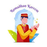 Muslim Man Praying for Ramadan Kareem Illustration vector