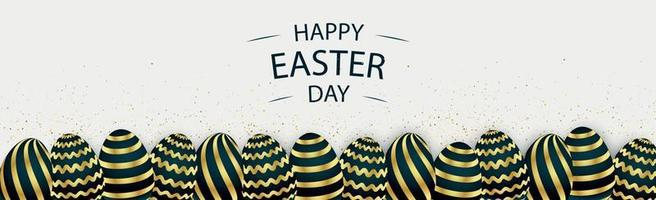 Easter background with festive black and gold eggs - Vector