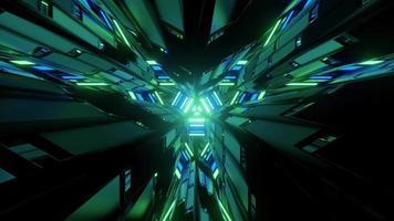 Ilustración 3d de figuras geométricas verdes en la oscuridad.
