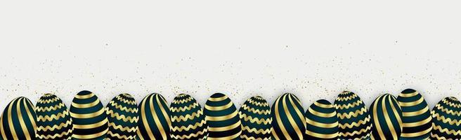 Easter background template with festive golden yellow eggs - Vector