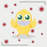 Yellow Easter chicken in a medical mask surrounded by the COVID-19 virus vector