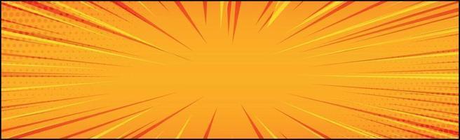 Panoramic orange comic zoom with lines - Vector