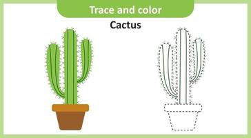 Trace and Color Cactus vector