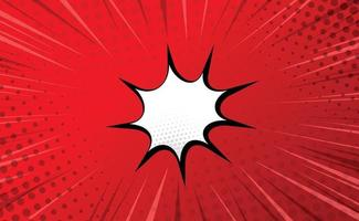 Red comic zoom with lines, dots and white elements - Vector