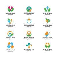 paquete de iconos de logotipo médico de salud vector