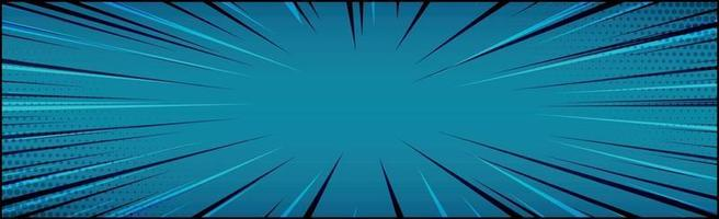 Panoramic blue comic zoom with lines - Vector