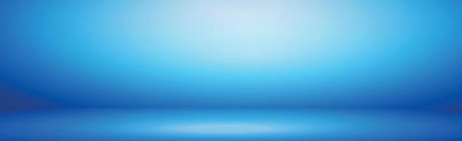 Blue panoramic studio background with white glow vector