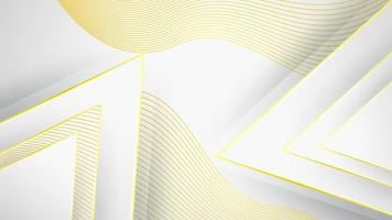 Abstract Golden Outline Triangle on white background with glitter effect and shiny color gold vector