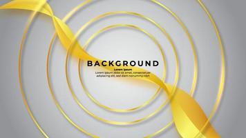 Círculo de contorno dorado abstracto sobre fondo blanco con efecto ondulado y color dorado brillante vector