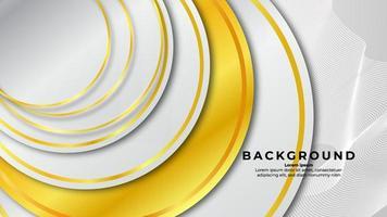 Círculo de contorno dorado abstracto sobre fondo blanco con efecto de brillo y color dorado brillante vector