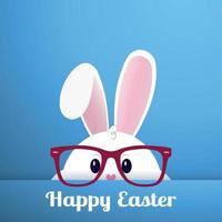 Conejito de Pascua blanco con gafas sobre un fondo azul - vector
