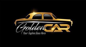 logotipo de vehículo de coche clásico dorado