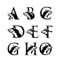 logotipo de la letra inicial del lobo vector