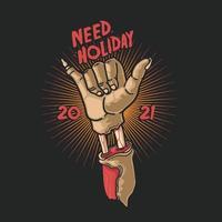 mano zombie necesita símbolo de vacaciones
