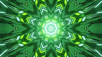 túnel escuro com ornamento de caleidoscópio de néon em ilustração 3 d