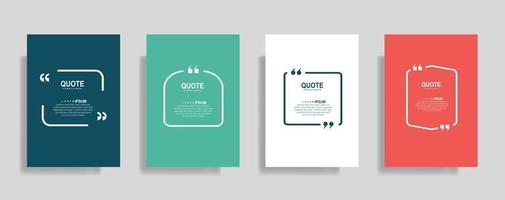 Quotes frame blank templates set. Text in brackets, citation empty speech bubbles. Text box isolated on color background vector