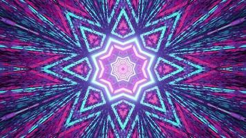 uma ilustração em 3D de um corredor geométrico em movimento com iluminação brilhante