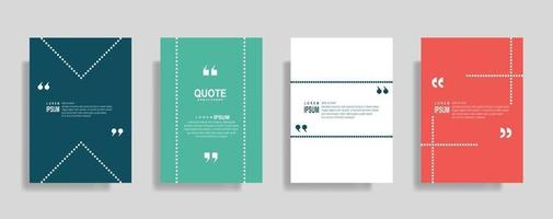 Quotes frame blank templates set. Text in brackets, citation empty speech bubbles. Text box isolated on color background. vector