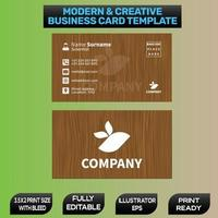 Wood effect business card design template vector