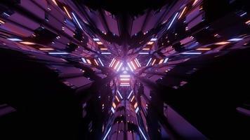 figuras geométricas brillantes que reflejan la iluminación púrpura en una ilustración 3 d