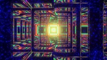 túnel de néon quadrado com paredes irregulares ilustração 3 d video
