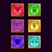 set of game ui wooden jelly magic power up icon for gui asset elements vector illustration