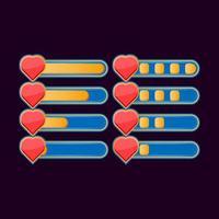 conjunto de barra de progreso de salud casual divertida para elementos de activos de interfaz de usuario de juego ilustración vectorial vector