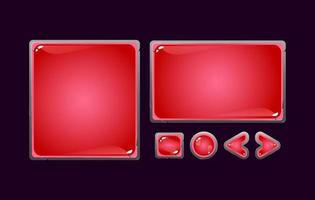set of fantasy stone jelly game ui board pop up for gui asset elements vector illustration