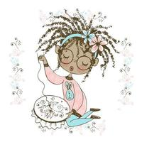 A pretty black girl is engaged in needlework and embroiders a beautiful pattern on the hoop. Vector. vector
