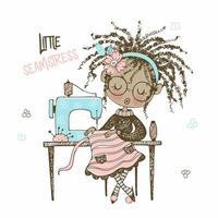 una linda chica negra con una máquina de coser. estilo doodle. vector. vector