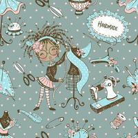 Seamless pattern with cute little black dressmaker with sewing mannequins. Vector