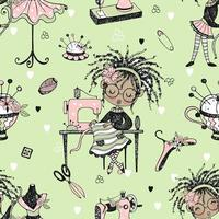Seamless pattern with cute little black-skinned dressmaker and sewing accessories. Vector