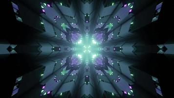 Ilustración 3D de patrón ornamental iluminado en movimiento.