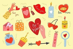 Big set of hand drawn elements of love. Valentines day concept. Modern flat illustration. vector