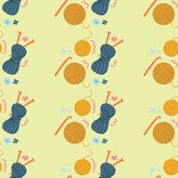 Hand drawn seamless pattern of ball of wool, thread, knitting. Flat illustration. vector