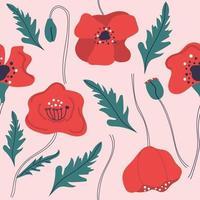 patrón sin fisuras de flores de amapola dibujadas a mano. ilustración plana moderna. vector