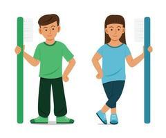 los niños se ponen de pie y sostienen un cepillo de dientes grande.