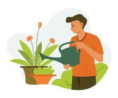 Man is Watering the Plants in the Garden. vector