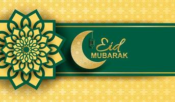 Eid mubarak, Ramadan mubarak background. Design with moon, gold lantern on golden background. Vector. vector