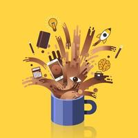 Illustrations concept coffee power vector