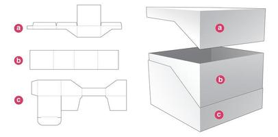 Gift box and lid die cut template vector