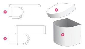 One side round box with lid die cut template vector