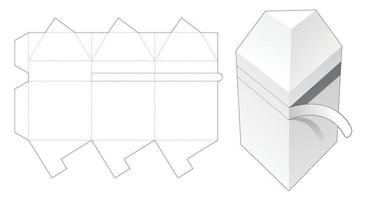 Triangular shaped packaging with zipping die cut template vector