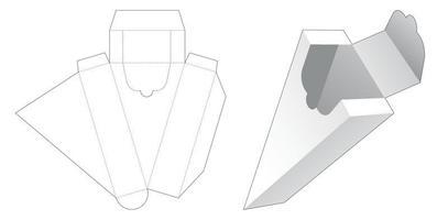 Zipping triangular shaped box die cut template vector