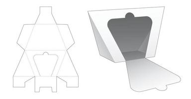 Zipping trapezoid triangular shaped packaging die cut template vector